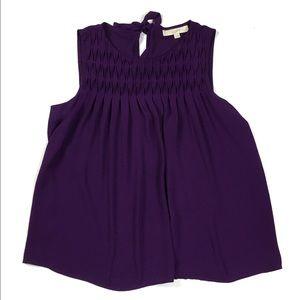 LOFT Purple Quilted Neckline Chiffon Tank Top